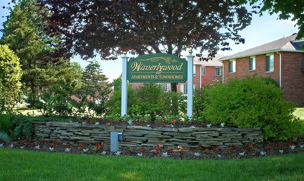 Signage at Waverlywood Apartments and Townhomes in Webster, NY