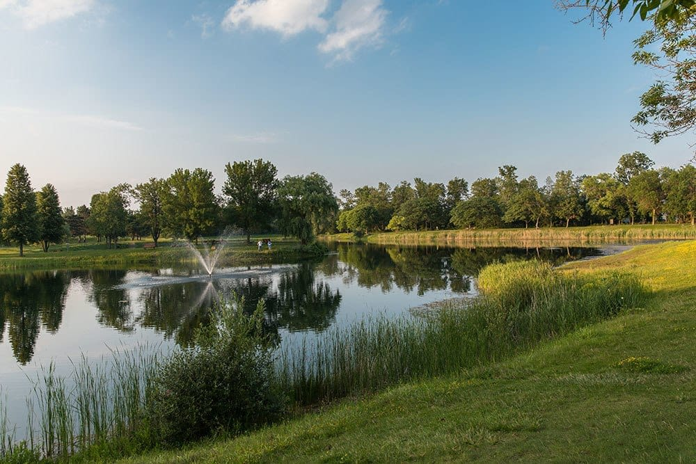 Lake at North Ponds Park in Waverlywood Apartments and Townhomes