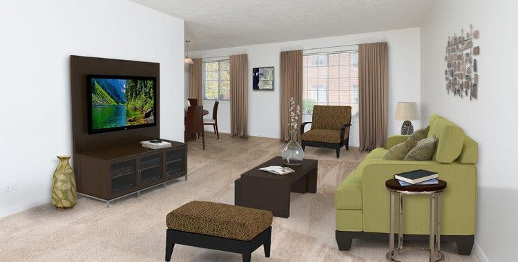 Living room at Waverlywood Apartments and Townhomes