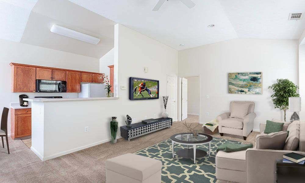 Beautifully designed living room at Webster Green home in Webster