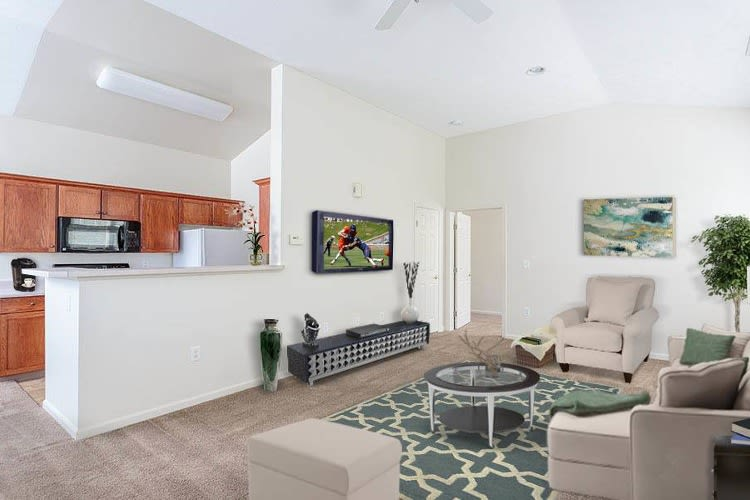 Kitchen and living room at Webster Green