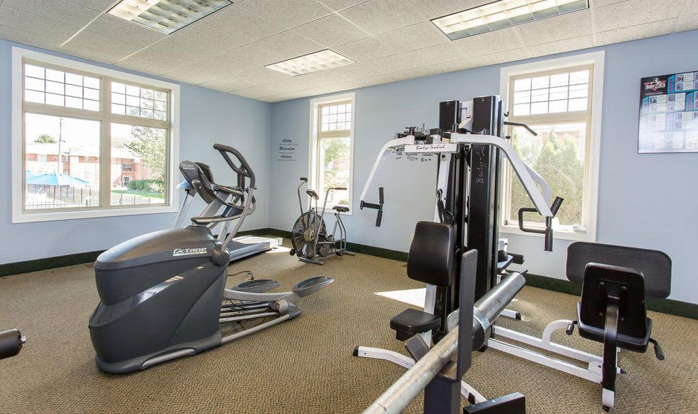 Fitness center at Knollwood Manor Apartments in Fairport, NY