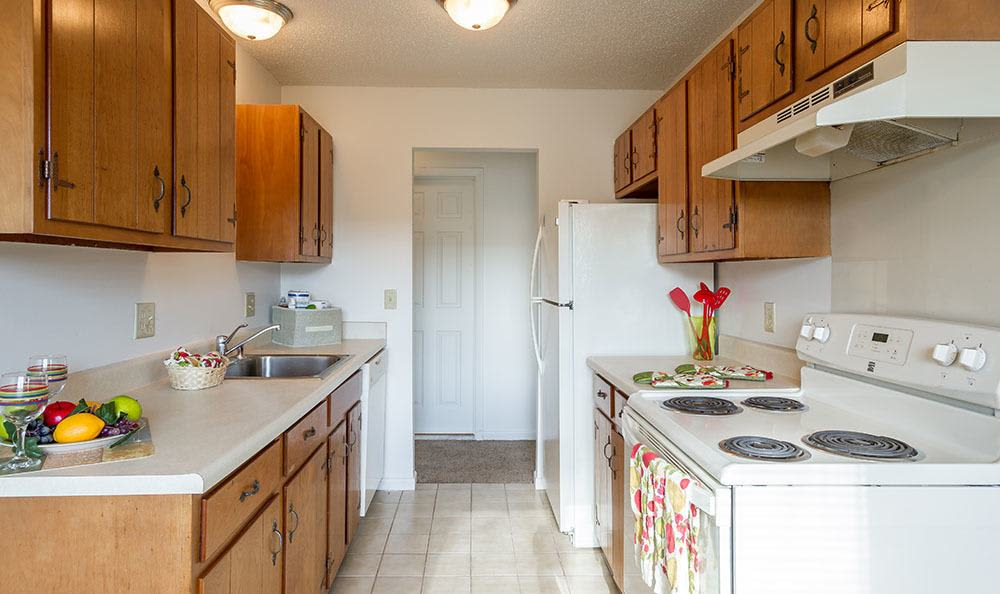 Well-equipped kitchen at Knollwood Manor Apartments in Fairport, NY
