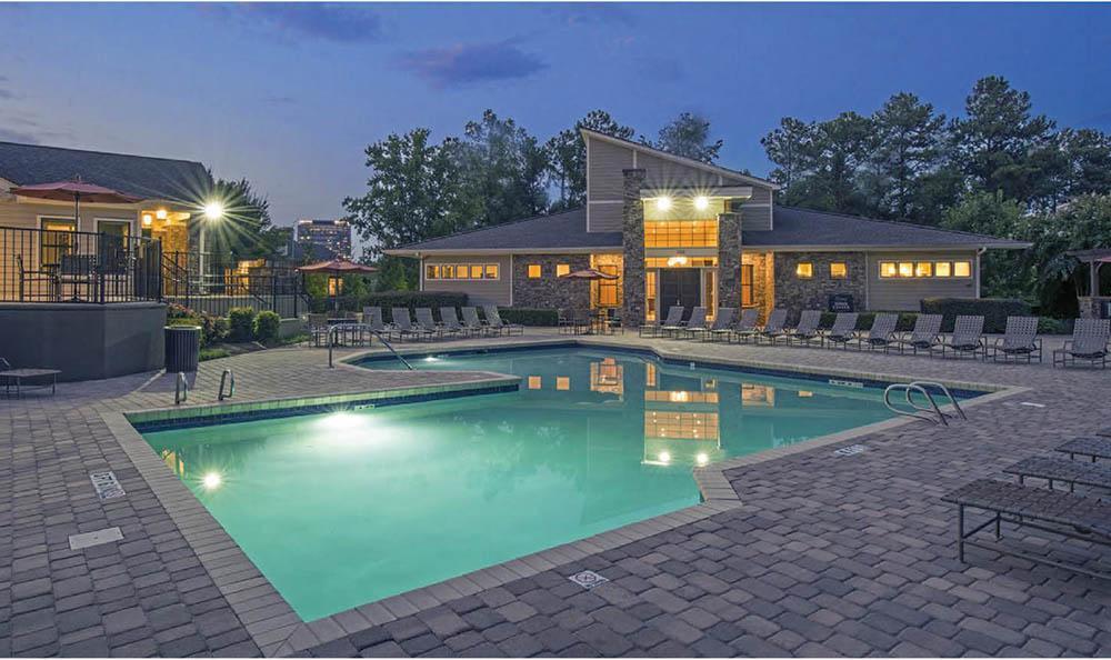 Swimming pool at night at The Residences at Vinings Mountain in Atlanta