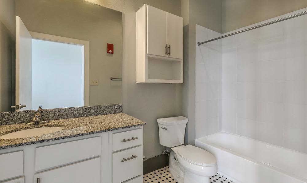 Bathroom  at Josephine Lofts in New Orleans, LA.