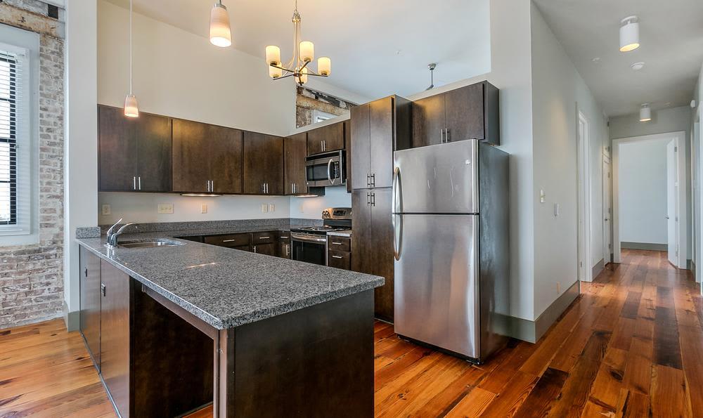 Moder kitchen  at Josephine Lofts in New Orleans, LA.