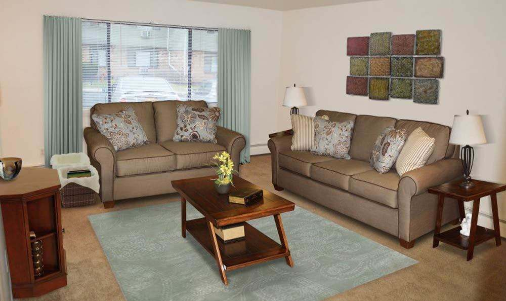 Beautifully designed living room at Lake Vista Apartments in Rochester