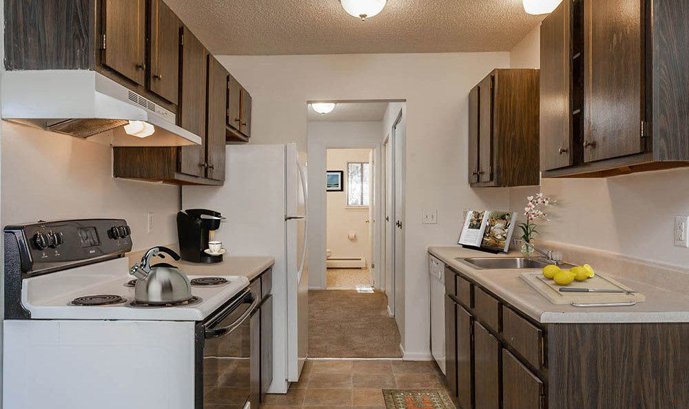 Well-equipped kitchen at Parkway Manor Apartments in Rochester