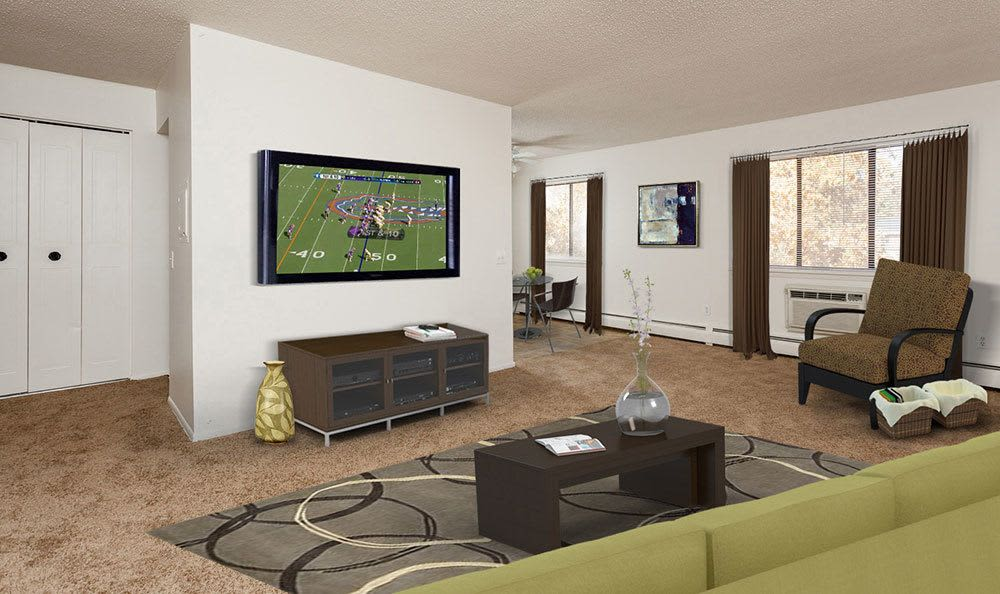Parkway Manor Apartments offers a cozy living room in Rochester, NY