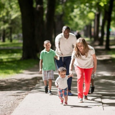 Walking at Parkway Manor Apartments community in Rochester, NY