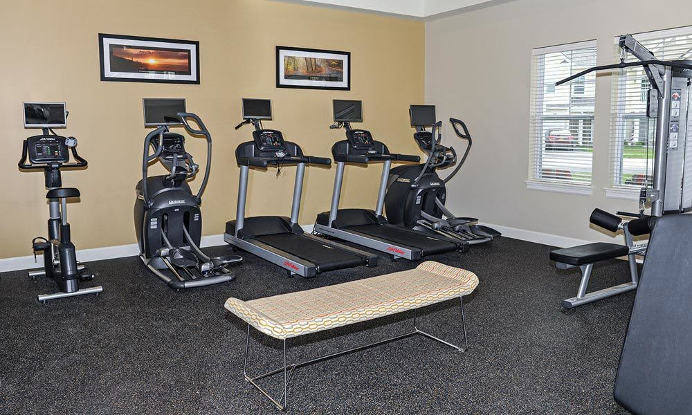 Fitness center at Union Square Apartments in North Chili, NY