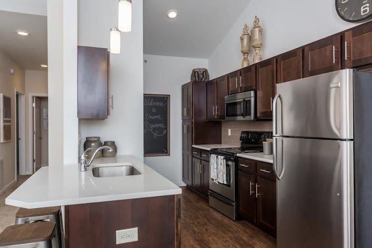 Union Square Apartments in North Chili, New York showcase a modern kitchen
