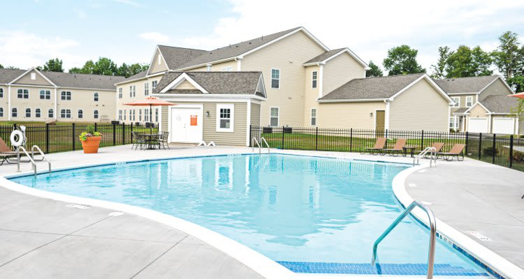 Sparkling swimming pool at Union Square Apartments in North Chili, New York