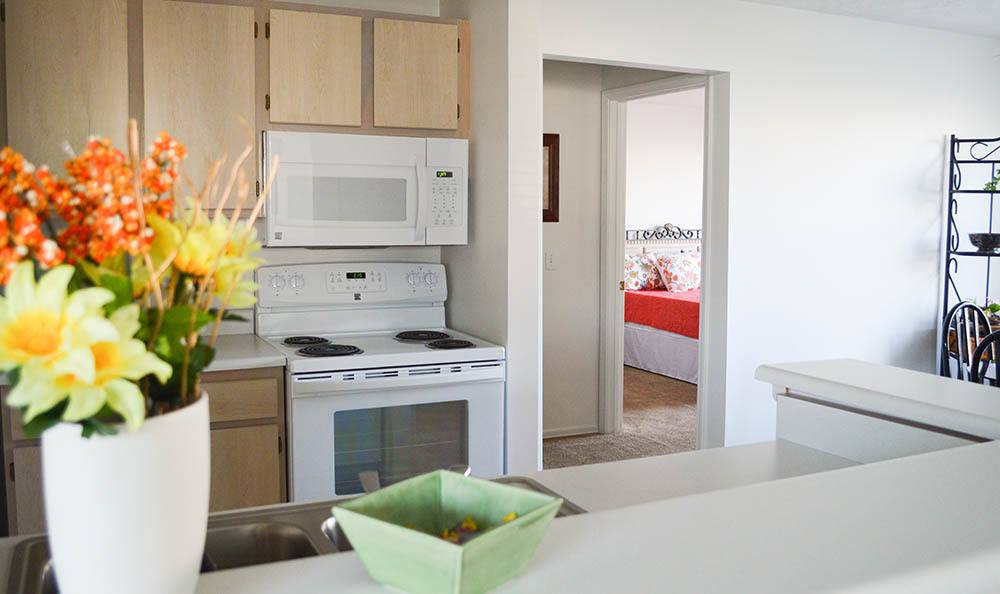 Well-equipped kitchen at Westview Commons Apartments home in Rochester, NY