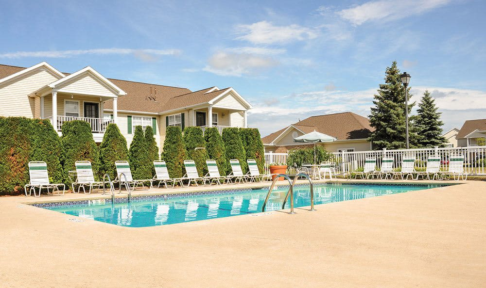 Sparkling swimming pool at Westview Commons Apartments in Rochester