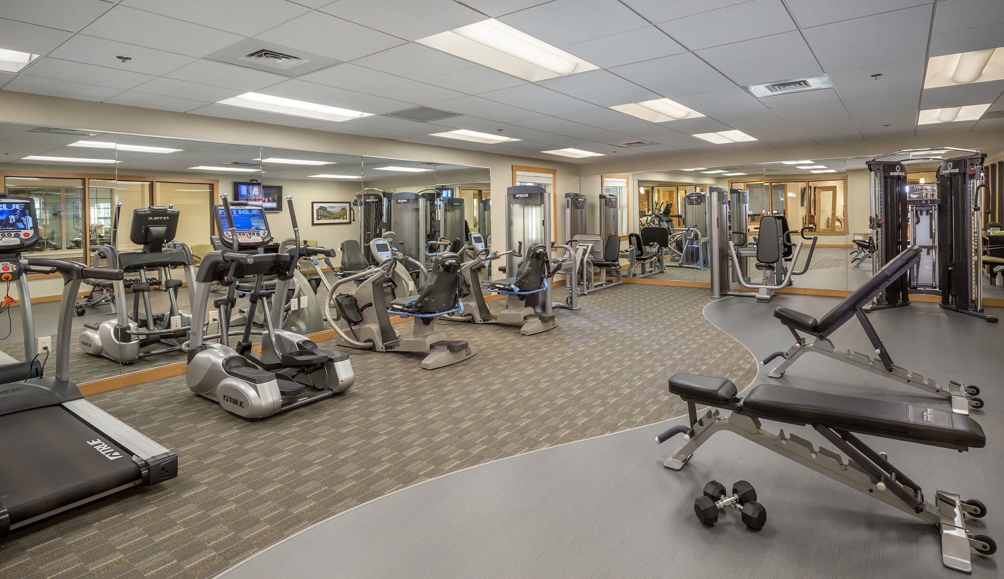 Keep active in the fitness center at our senior living community in Eugene Oregon