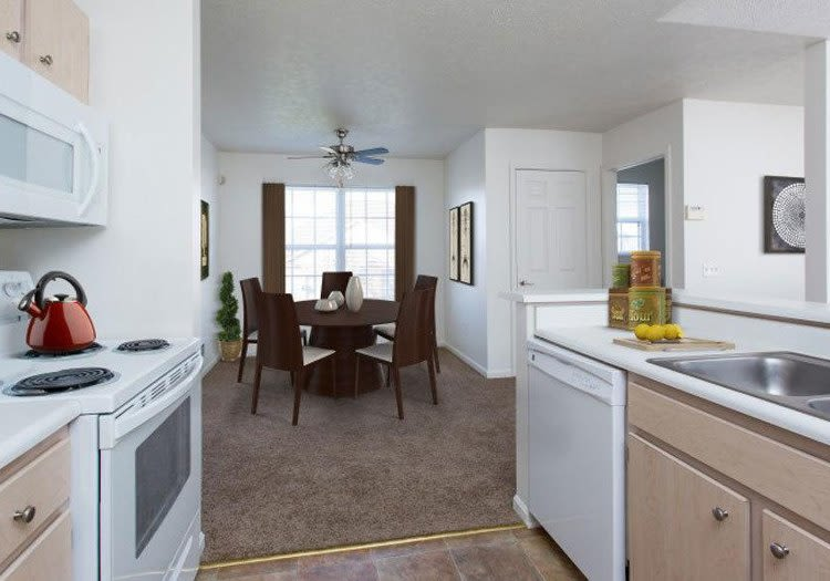 Modern kitchen at Westview Commons Apartments in Rochester, New York