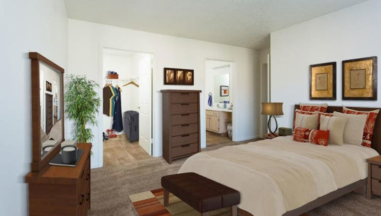 Well decorated bedroom at Westview Commons Apartments in Rochester