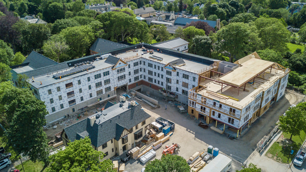 Aerial view of 933 the U community in Rochester, NY