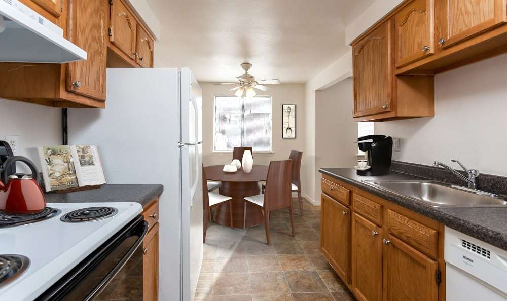 Beautifully designed kitchen at East Ridge Manor Apartments in Rochester