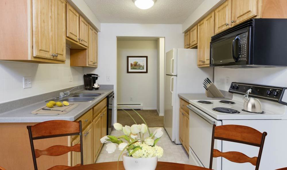 Beautifully designed kitchen at Glenbrook Manor Apartments in Rochester