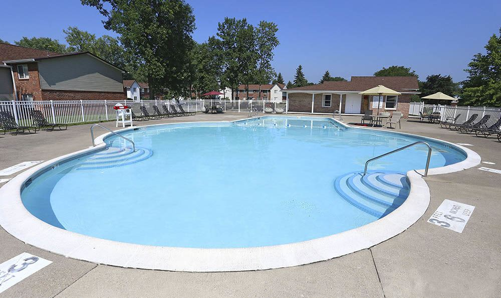 Sparkling swimming pool at Highview Manor Apartments in Fairport, NY