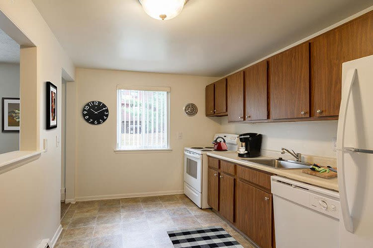 Highview Manor Apartments offers a beautiful kitchen in Fairport, New York