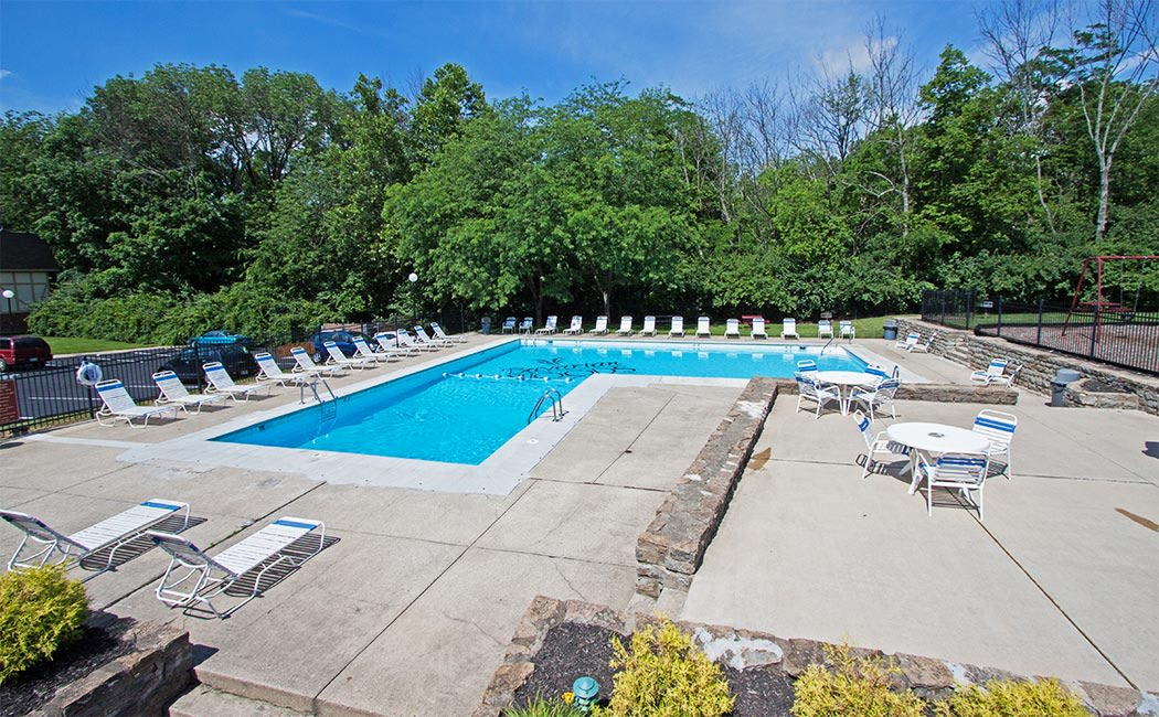 Our sparkling swimming pool awaits at Bavarian Woods in Middletown