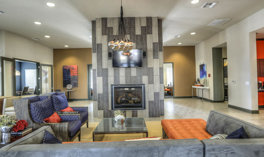 Office with fireplace at Victory North Apartments