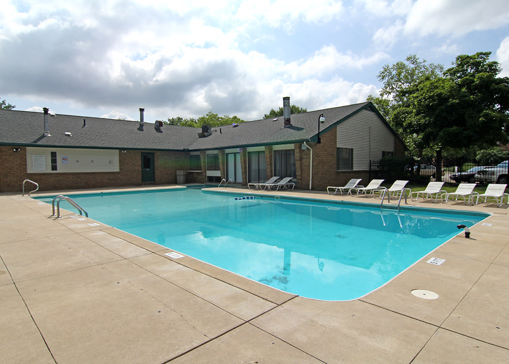 Beautiful swimming pool at Cedarwood Village Apartments in Akron
