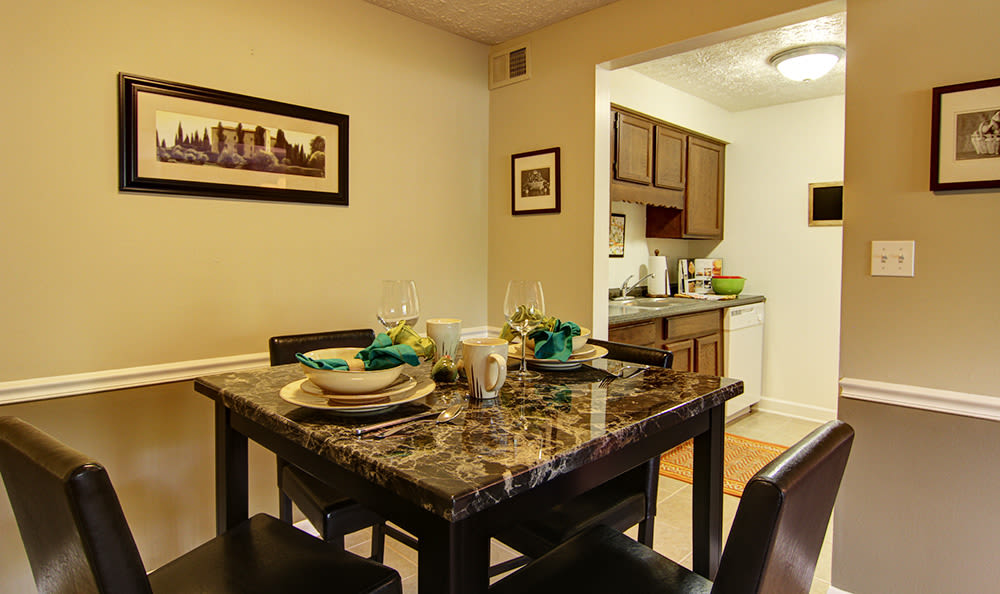 Dining area in home at Cedarwood Village Apartments in Akron