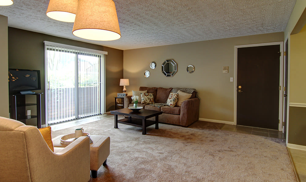 Plenty of room for your furniture in the open living room area at Cedarwood Village Apartments in Akron