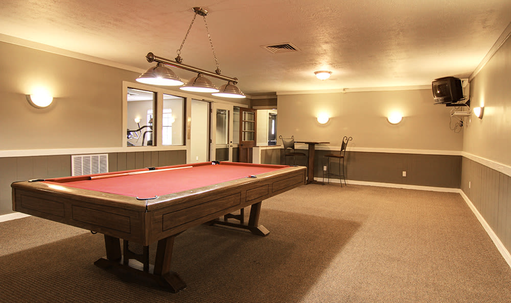 Billiards table in the clubhouse at Cedarwood Village Apartments in Akron