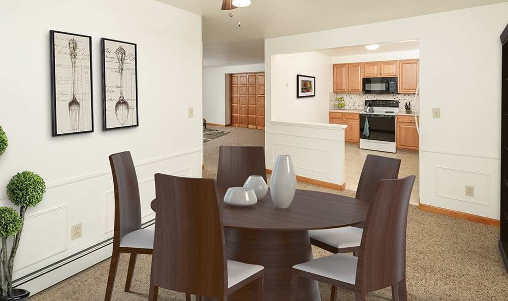 Dining room at Green Lake Apartments in Orchard Park