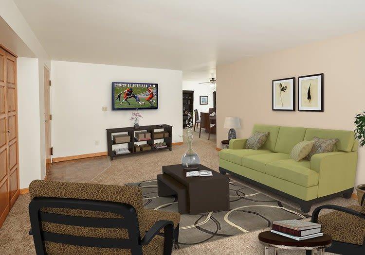 Spacious living room at Green Lake Apartments & Townhomes home