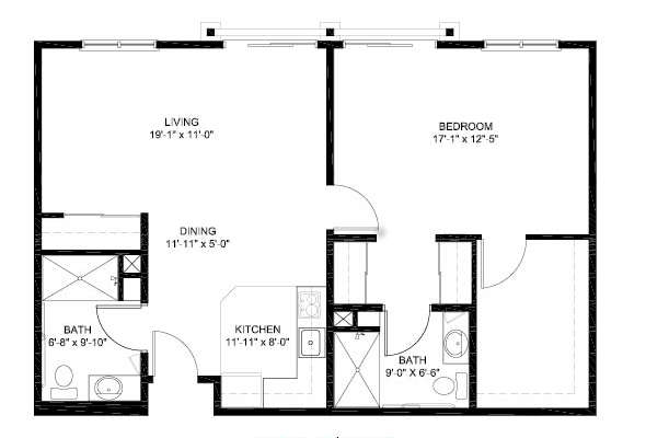 1 bed 2 bath Independent Living Floor Plan