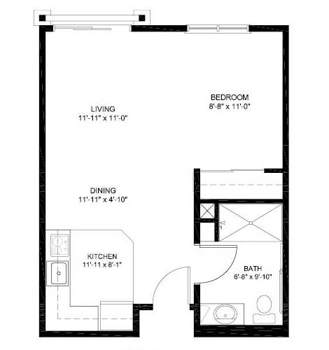 Studio Independent Living Floor Plan
