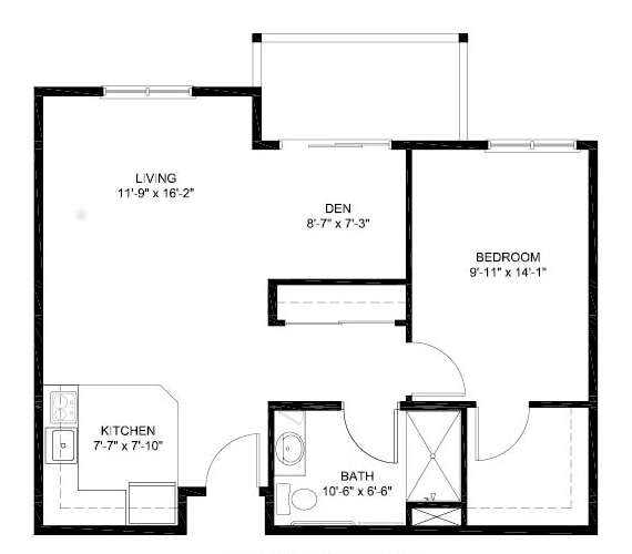 1 bed 1 bath/den Independent Living Floor Plan