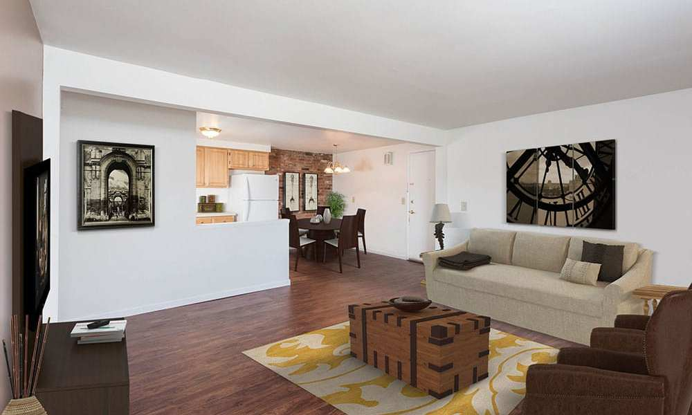 Spacious living room at Idylwood Resort Apartments in Cheektowaga