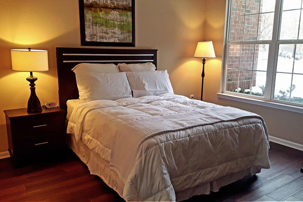 Modern bedroom at Highlands at Morris Plains in Morris Plains, New Jersey