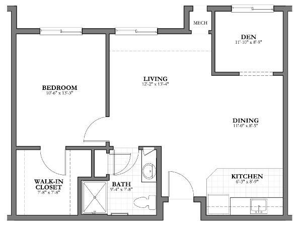 1 bed 1 bath/den Independent Living Floor Plan