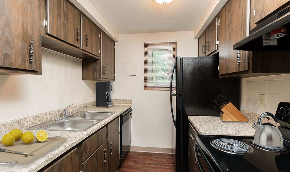 Fully-equipped kitchen at Paradise Lane Apartments in Tonawanda