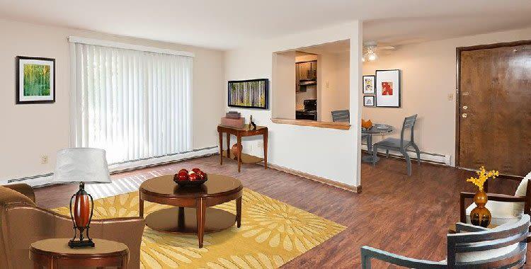 Spacious living room at Paradise Lane Apartments home