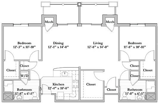 2 bed 2 bath Assisted Living Floor Plan