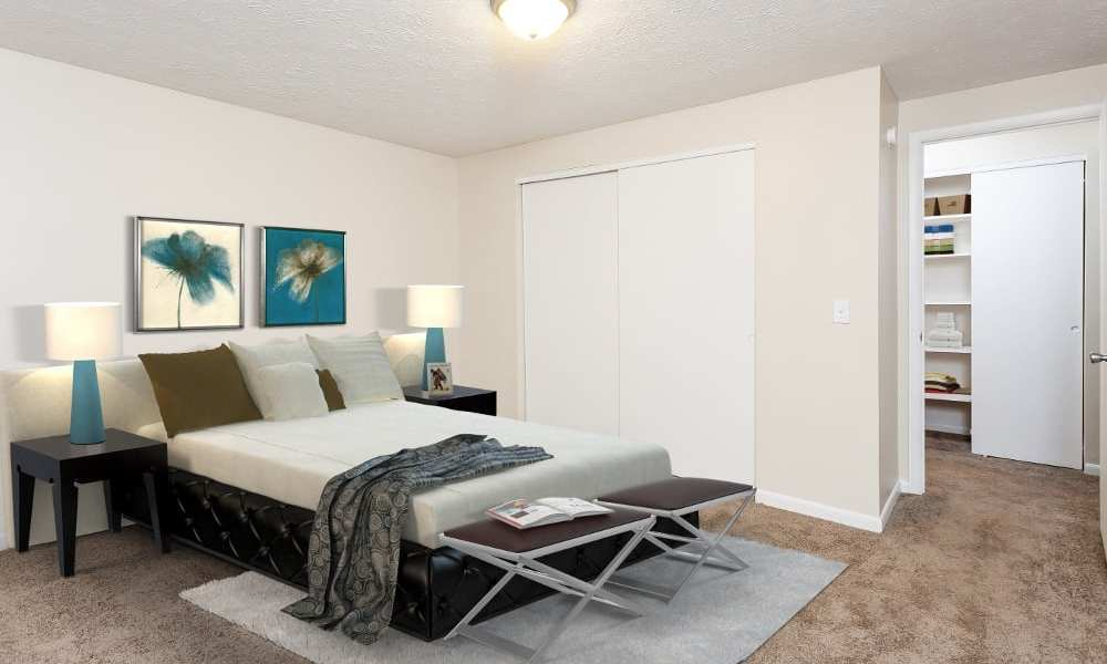 Beautifully designed bedroom at Willowbrooke Apartments and Townhomes in Brockport