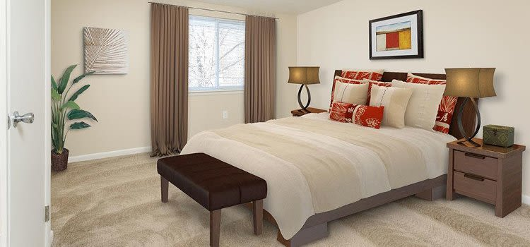 Well decorated bedroom at Willowbrooke Apartments and Townhomes home in Brockport