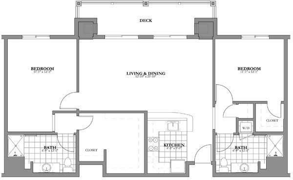 2 bed 2 bath Independent Living Floor Plan