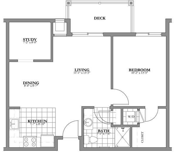 1 bed + study Independent Living Floor Plan