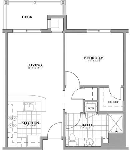 1 bed 1 bath Independent Living Floor Plan