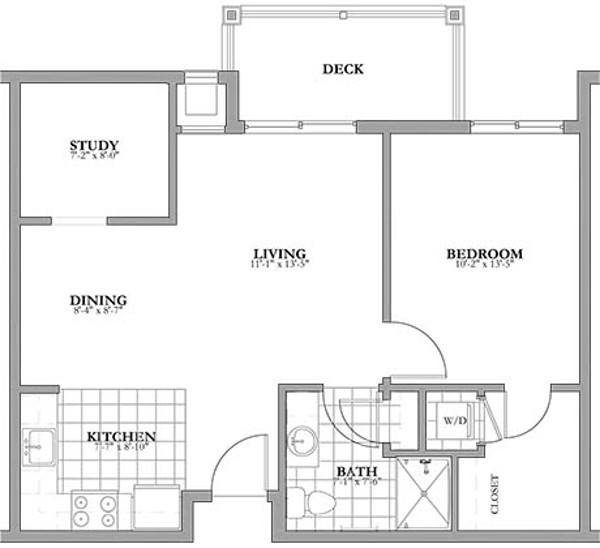 1 bed + study Independent Living Floor Plan